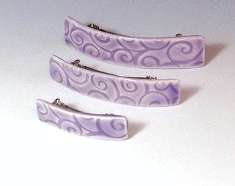 Medium Size Barrette, One Purple Barrette, Porcelain Barrette, Ceramic Barrette, French Barrette, Lavender Ceramic Hair Clip, Swirl Pattern