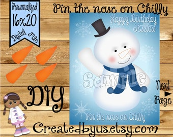 Pin the Nose on Chilly Birthday game Doc party banner party game Doc Birthday Party ideas Pin the Tail DIY PRINTABLE game Download