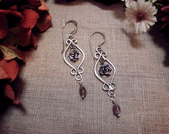 Swaying Roses-  Sterling Silver and Pink Agate Earrings