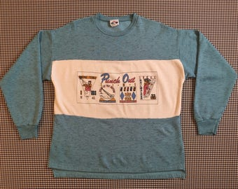 """1980's, """"Punch Out Time,"""" sweatshirt, in heathered blue and white, Women's size Medium/Large"""