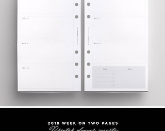 2018 Weekly Planner Inserts Personal Size PRINTED | WO2P Printed Personal | 2018 weekly calendar personal | Planner Refill | LV MM | Kikki K