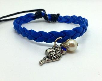 Leather Friendship Bracelet   Neon Blue   Charmed Bracelet     Bracelet  item 2258