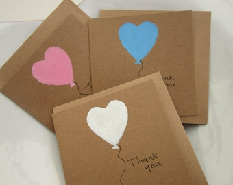 Hand painted, Set of 4, kids thank you cards, hen thank you, wedding thank you, thank you cards, thank you cards pack, heart cards
