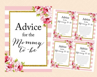 Gold Advice for the mommy to be, advice for new mommy, advice cards, Pink shabby chic baby shower games Printables, Instant download TLC50
