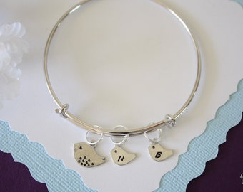 Mom Bird Bangle Silver, Personalized Silver Baby Chicks, Bangle Bracelet, Mama Bird, Mother Gift, Sterling Silver Initial, Monogram