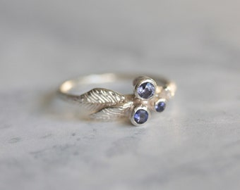 Silver iolite ring - twig ring - silver branch ring - woodland jewellery - woodland wedding