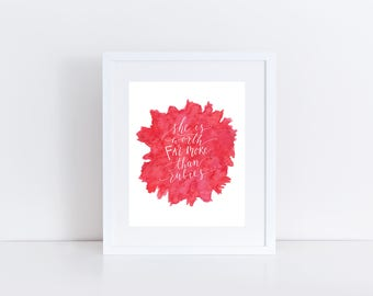 More Than Rubies Watercolor Calligraphy Print / Mother's Day Print / Anniversary Print