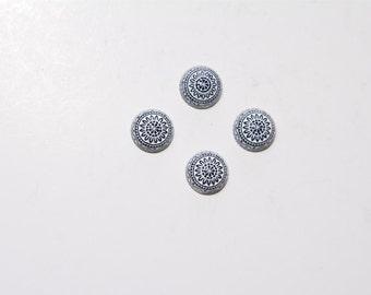 4 PCs./10mm  Vintage etched mosaic cabochons /  flat back / color: white - blue   MC010