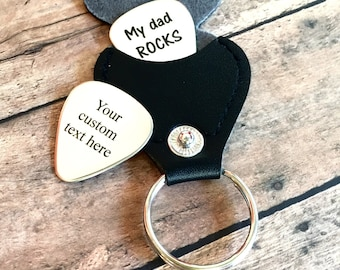 Personalized Guitar Pick Keychain - I Pick You - Guitar Pick with leather case - Engraved Guitar Pick - Gift for Husband, Dad, Boyfriend,