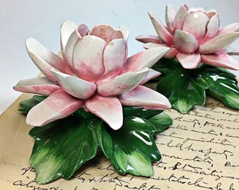 Vintage Pink Lilly Flower Candle Holders  Nuova Capodimonte
