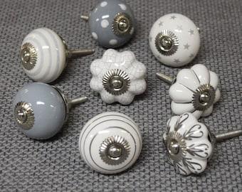 PKS7 - Set of 8 Grey White Silver Vintage Cupboard Knobs