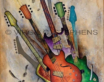 Guitar art, Psychodalia, giclee print from the original oil painting of music, musical instruments, guitars, guitar painting
