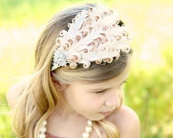Baby headband, Baby headbands, white feather headband,baptism headband, Flapper headband, Easter Headband ,baby girl headband.