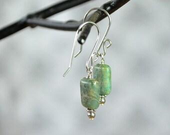 Aqua Terra Jasper Earrings, Water Land, Hazel Stone Earrings, Blue Green Earrings