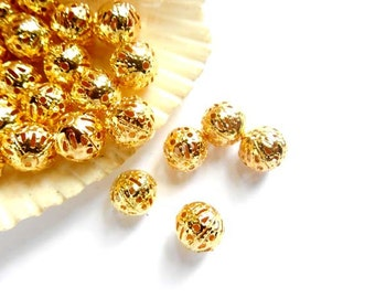 25 Gold Plated Filigree Beads - 24-18-A