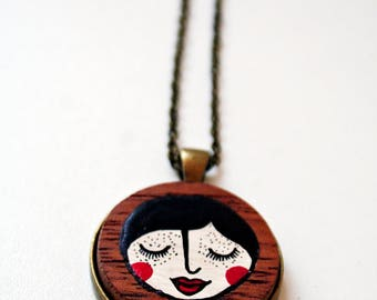 Handpainted Pendant Necklace-Wooden Handpainted Necklace-Wooden Jewlery-Unique gift for her