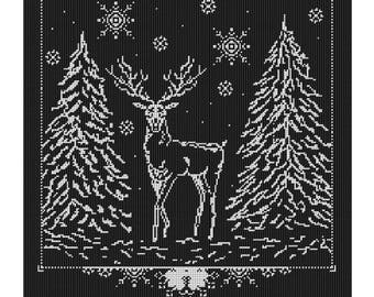 Winter forest Meetings-cross stitch pattern