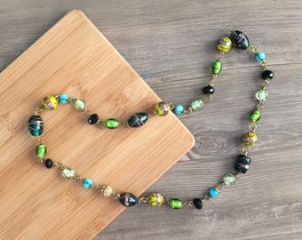 Multi Way Choker Necklace, Layered Necklace, Beaded Choker, Long Chain Necklace, Yellow Green Necklace, Layered Choker, Gold Accent Necklace