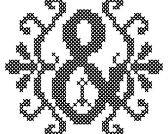 Ampersand Cross Stitch Pattern, Modern letter cross stitch pattern, fancy ampersand cross stitch, counted cross stitch pattern