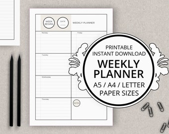 PROFILE Printable Weekly Planner Insert Page / A5 A4 Letter Paper Size / Instant Download