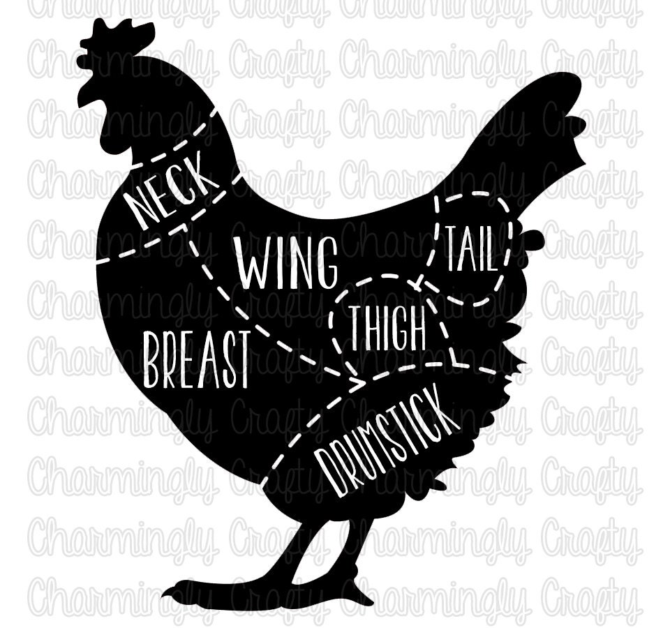 Chicken Poultry Meat Cut Chart SVG PNG Studio Cuttable Quote for Chicken Meat Cuts Chart  56bof