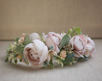 Flower Crown Semi Full Halo - Neutral Mauve Beige - Greenery - m2m Well Dressed Wolf Josephine - Bridal Crown - Bridesmaid - Wedding - Girl