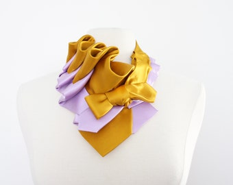 Aster Necktie Scarf in Color Block - Gold + Lilac