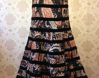 VINTAGE Hand Printed Cotton and Black Velvet Tiered Senorita Skirt - Size S/M