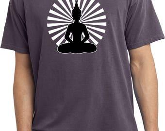 Yoga Clothing For You Mens Shirt Meditating Buddha Pigment Dyed Tee T-Shirt = PC099-MEDBUD