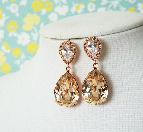 Rose Gold Bridal Light Silk Swarovski Crystal Teardrop Earring - bridal gifts, drop dangle, pink gold weddings, bridesmaid earrings, Sandra
