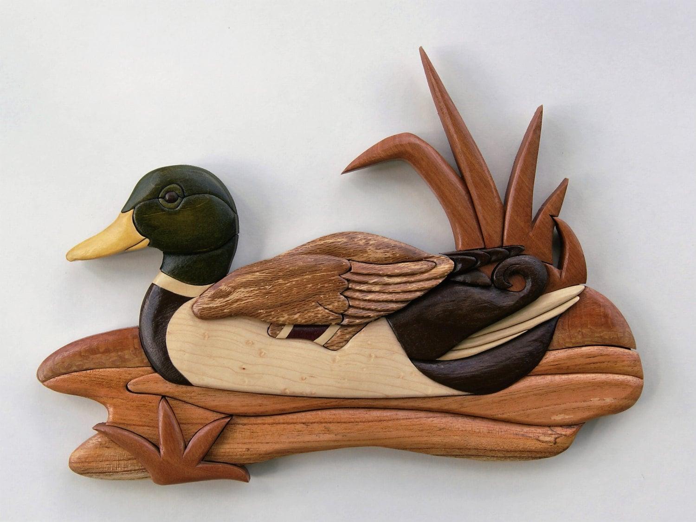 Drake Mallard Intarsia Wall Hanging Wood Carving Waterfowl