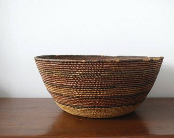 Hupa Indian Basket, California Tribal Art, Native American Basket, Early 20th Century, Striped Natural Fibers, Hand Woven Folk Art