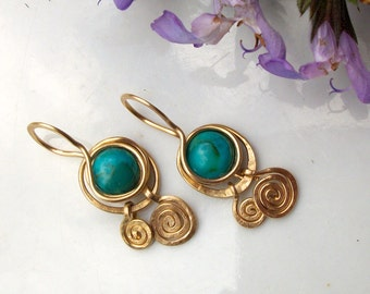 Turquoise spiral earrings, gold filled drop earrings. Gift for her, Bridesmaid Gift, Wedding gift, Bridal,