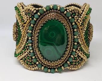 Malachite Bead Embroidery Cuff