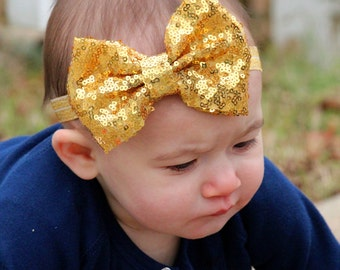 Large Gold Bow Headband, Gold Sequin Bow Headband, Gold Headband, Fancy Gold Headband, Large Gold Hair Bow, Gold Hair Clip, Gold Accessories