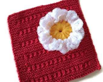 Daisy Dish Scrubbie Dishcloth Gift Set,1 Daisy Scrubber & 1 Cotton Hand-Knit Dishcloth,Housewarming,Shower Gift,Kitchen Decor, Gift for Her