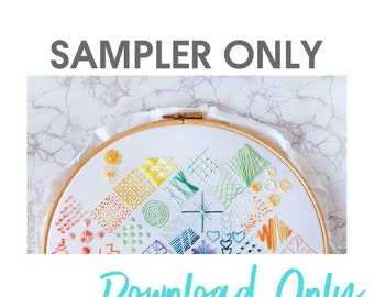 Beginners Embroidery SAMPLER ONLY - Embroidery How To - Simple Embroidery Sampler Guide - Learn to Embroider - DIY - Downloadable - Digital
