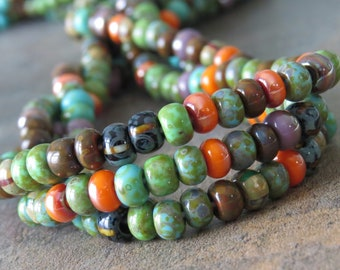 NEW Orangeade Czech Glass Striped Picasso Seed Bead 5/0 Mix: 10 Inch Strand 5/0 Aged Picasso Mix