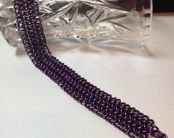 Chainmaille Bracelet- Purple- European 4 in 1  Weave