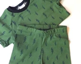 Childrens shorts. Short set. Boys clothes. Boys short sets. Kids shorts. Olive clothing. Toddler boy clothes. Kids clothing set.
