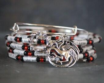 Game of Thrones bracelet, House of Targaryen, charm bracelet set, GOT jewelry, Game of Thrones gift, Charm bracelet, book bracelet, gift set