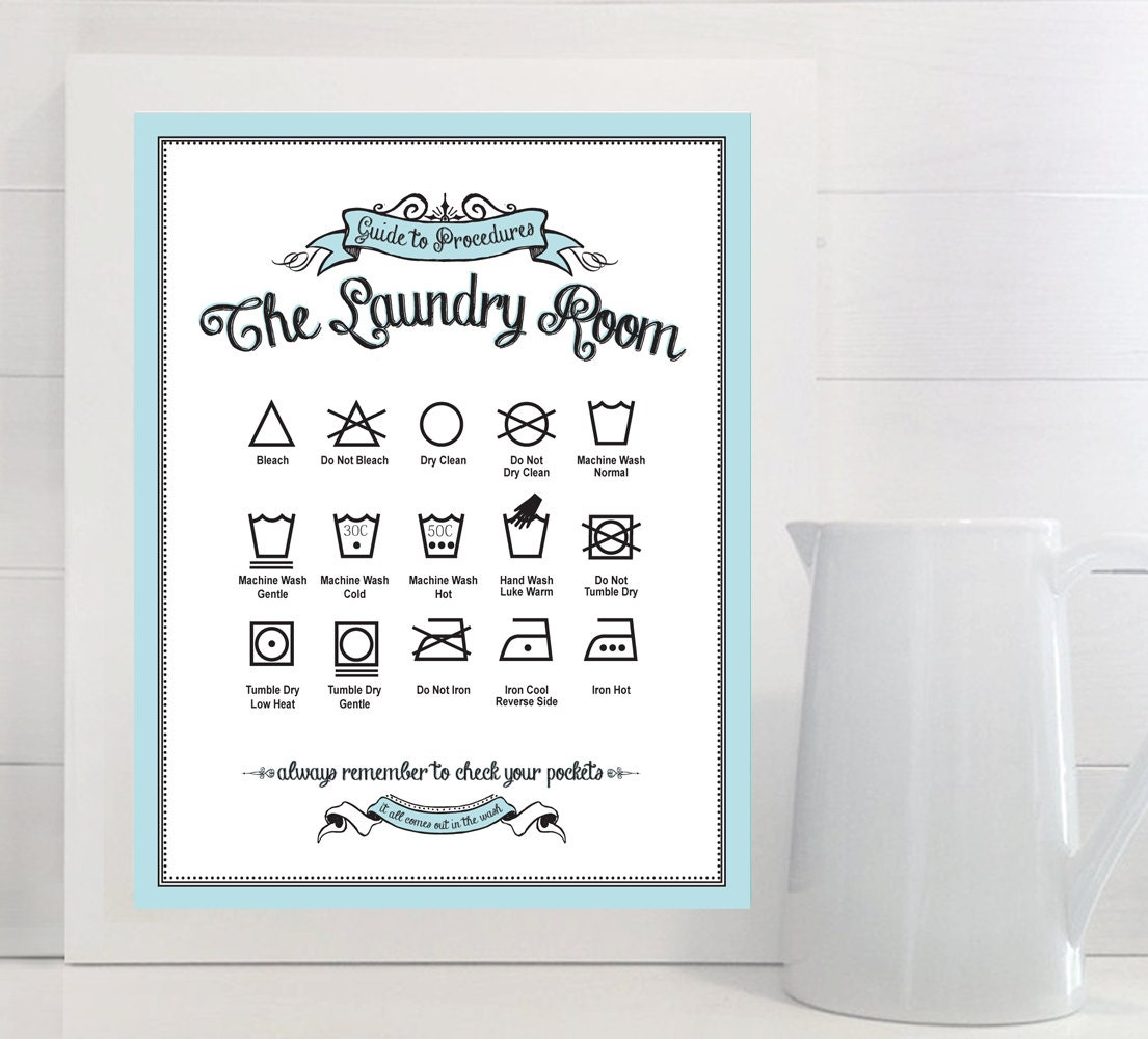Laundry Symbols Wall Art Guide To Procedures The Laundry Room Print Laundry
