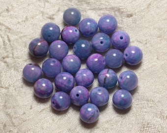 10pc - stone beads - Jade blue and pink balls 10mm 4558550029768