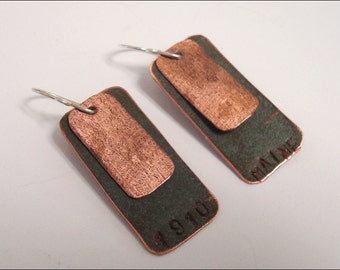 Maine State House Copper Roof Long Rectangle Layered EarringsLimited Edition AC