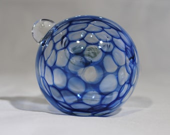 FREE SHIPPING!!  Spoon Pipe, Glass smoking pipe, Clear, Honeycomb, Cobalt Blue