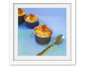Toffee Cupcake Wall Art Print, Pastel Print, Cupcake Print, Food Art, Cupcake Painting, Cupcake Art