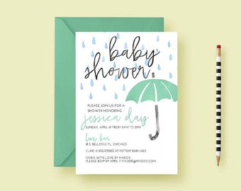 Watercolor Umbrella Baby Shower Invites, Coed Baby Shower Invitations, For Boys, For Girls, Baby Shower Invite PDF, Printable, Printed