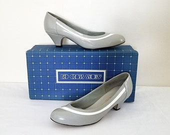 Red Cross Shoes Gray and White Low Pumps 80's Shoes Vintage Heels Original Box Size 6.5