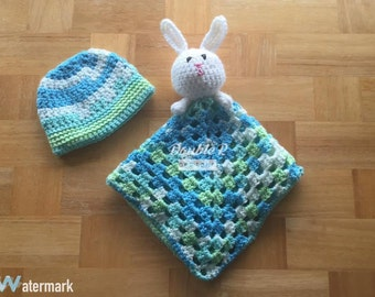 Crochet Lovey and Hat Gift Set