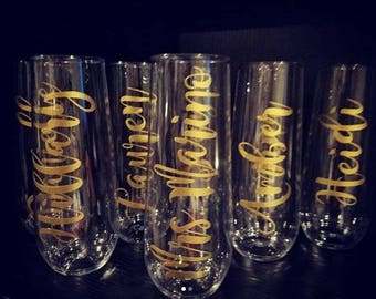 Personalized Stemless Champagne Flutes, Shatterproof, Wedding Champagne Flutes, Bridal Party, Bachelorette Party